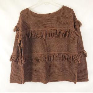 Lucky Brand Brown Fringe Sweater Size Medium